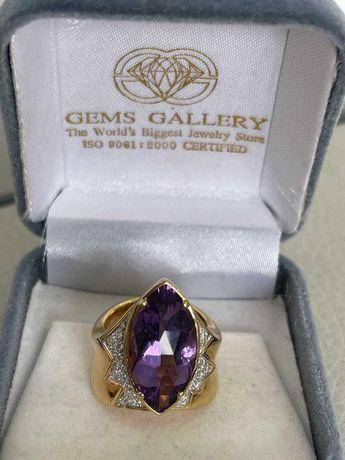 Кольцо перстень  аметист бриллианты золото 750 проба размер 17,5