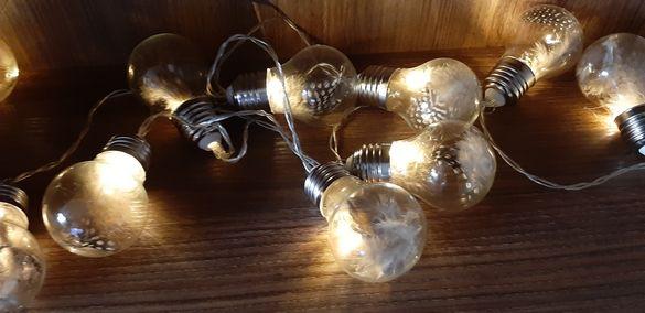 Светещи стъклени крушки с пера верига- 2 Модела