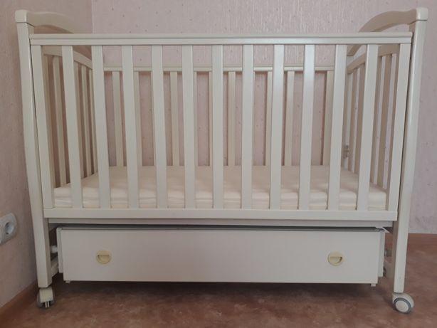 Детская кроватка VERES СОНЯ ЛД-6 слоновая кость (маятник с ящиком)