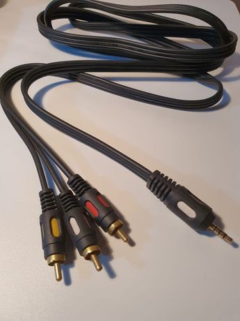 Шнур кабель Аукс AUX -три тюльпана, 3 RCA. 1.8 метра Премиум качество