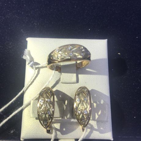 Серьги и Кольцо с камнями 585 проба вес 4,62 №АВ9183 №АВ9182