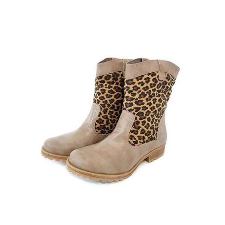 Ghete dama, Mustang, maro cu imprimeu leopard, marimea 36