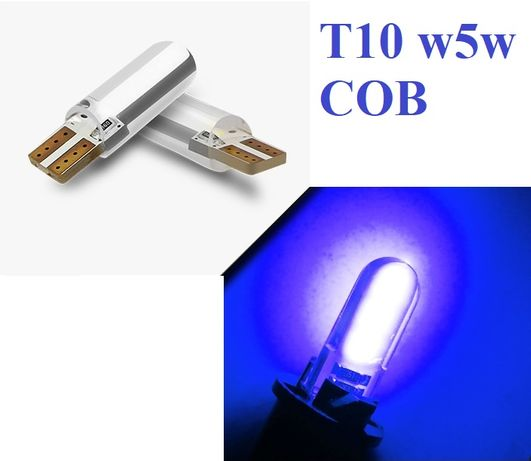 set 10 buc x Bec T10 w5w LED Albastru COB in silicon - decoratiuni