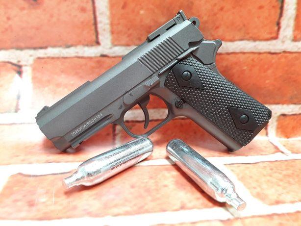 Reducere Colt 1911 scurt FULL METAL 4j upgradat pistol airsoft+ bonus