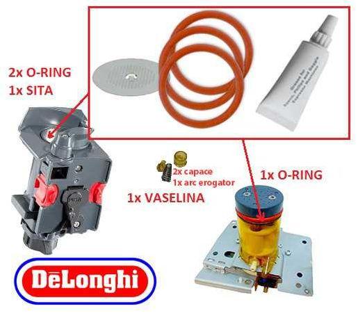 DeLONGHI Kit reparatii ESAM, 3x Garnituri, Arc, O-ring +Sita +Vaselina