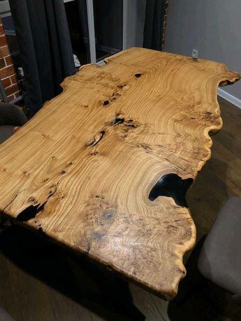 Обеденный стол из слэба с живыми краями