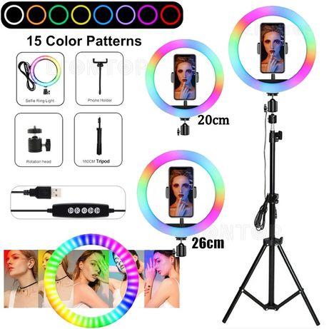 Лед ринг лампа 7 цвята с трипод  - Ring Rbg Light 10инча