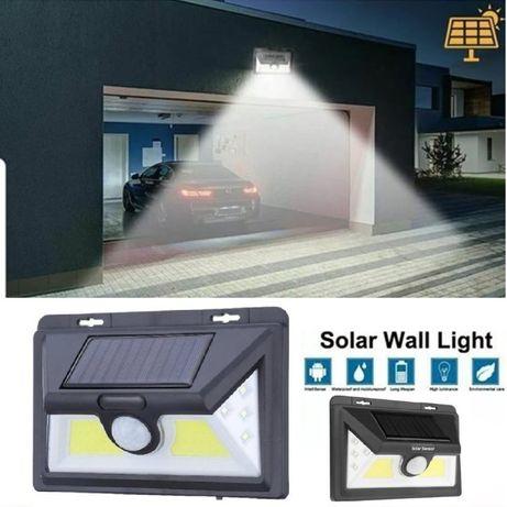 Соларна водоустойчива лампа 44 диода и сензор за движение и коб диод