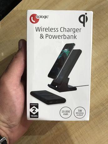 Безжично зарядно стоика и безжичен пауърбанк 2в1