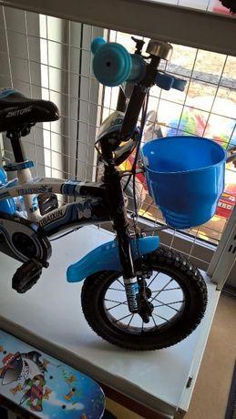 Bicicleta copii YIBAIXIN 12 inchi , roti ajutatoare ,alba cu albastra