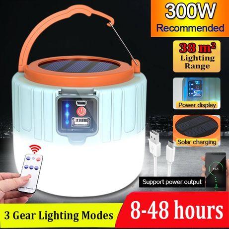 Соларна къмпинг лампа с дистанционно и 4 режима - два варианта