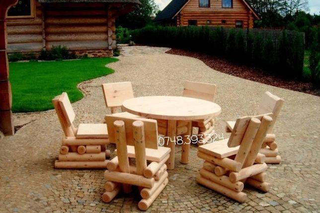 Masă băncuțe scaune  lemn rustic  foișor terasa