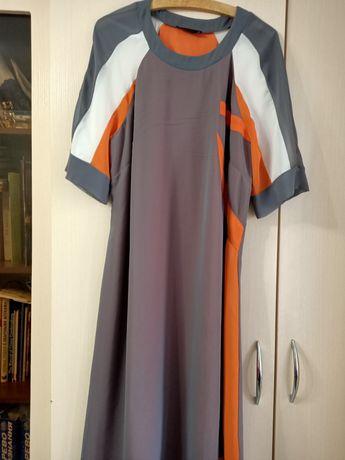 Летнее шифоновое платье с поясом 50 52