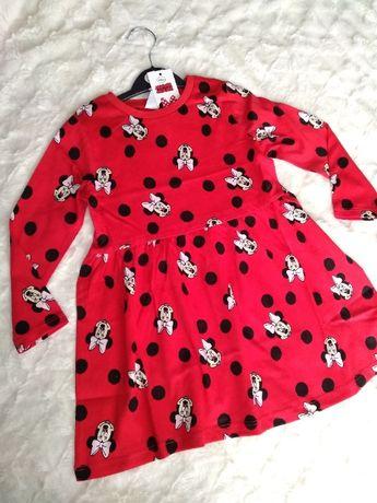 червена рокля с Мини Маус 2/3 г и клинчета