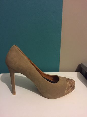 Pantofi eleganti crem - auriu