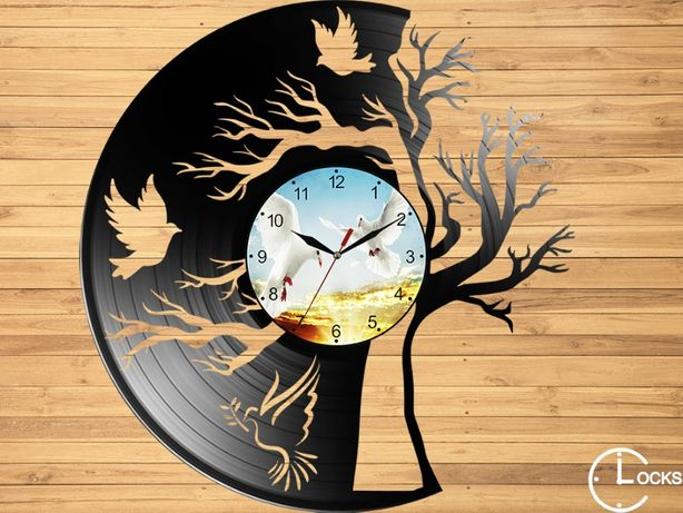 Ceas de perete din lemn Copacul cu porumbei gradina casa decor stil