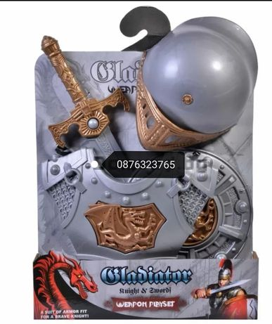 Детски гладиаторски рицарски комплект играчки костюм меч