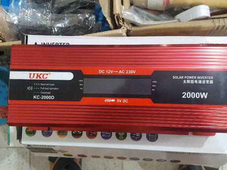 Инвертор преубразовател UKC с лед дисплей за кола 12-220v-2000вата