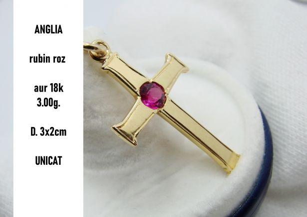 Cruciulita Cruce Aur 18K Cu Rubin Roz