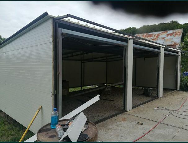 vând garaj  pentru mașini cu uși basculante pe structură met