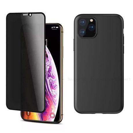 Iphone 11 12 MINI / PRO / MAX - Husa Silicon + Folie Sticla Privacy 6D