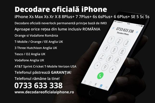 Decodare oficiala iPhone 11 Pro Max Xs Xr X 8 7 6 Plus + 5 s deblocare