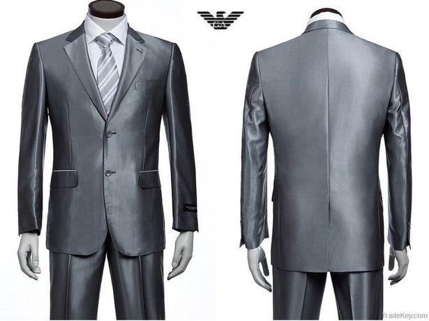 Costum barbatesc Giorgio Armani gri lucios