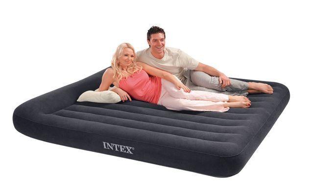 Двуспальный надувной матрас 203x183х25см с подголовником, Intex 64144