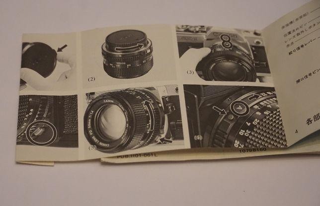 Manual/instructiuni obiective Canon FD- de colectie