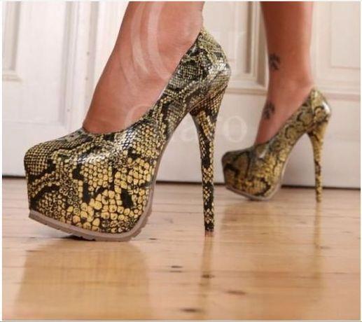 Valentino Giaro pantofi Yellow Snake nr 37 platforma si toc