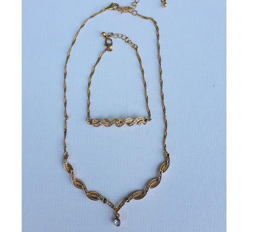Set colier + bratara placat cu aur (bijuterie, bijuterii)