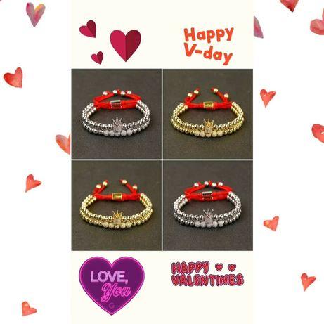 Bratari cuplu Valentine's Day cu coroana si pietre semipretioase