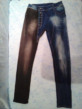 Интересни с сив и син крачол еластични екстравагантни, елегантни дънки гр. Ловеч - image 1