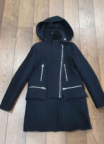 Palton negru de lana Zara