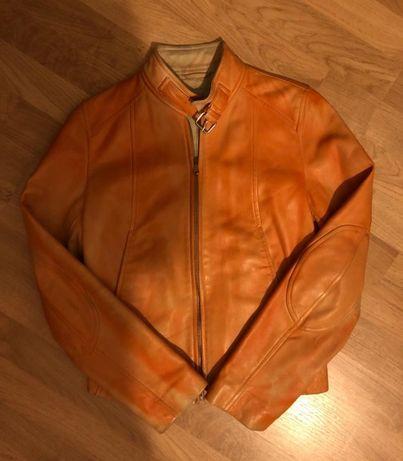 geaca piele portocalie Bata