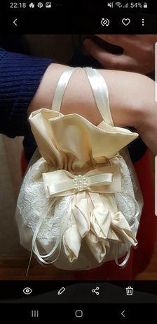 Продам свадебную сумку, цвет айвори