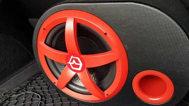 Новый Сабвуфер Урал Ural red встроенный усилитель +провода буфер