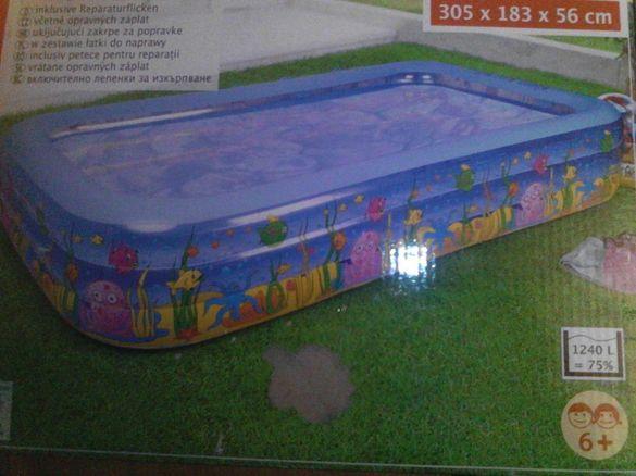 Голям надуваем басейн нов 1240литра,малък басейн нов 248литра