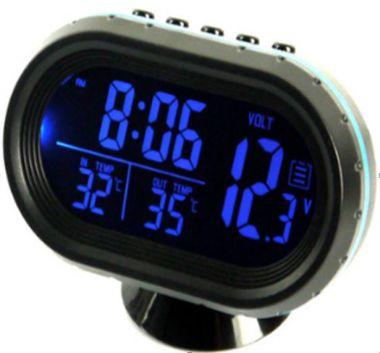 Ceas, voltmetru, termometru, auto, cu mufa de bricheta12/24V-albastru