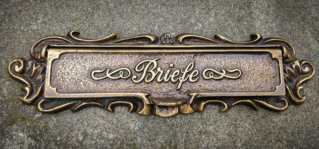 Ornament vechi din bronz pentru cutie postala. Posta. Casuta Postala