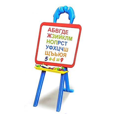 Магнитна дъска с български букви и цифри за писане и рисуване 3 в 1