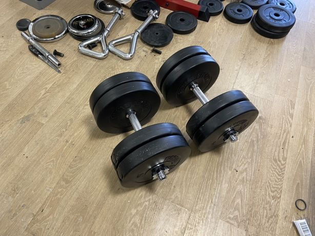 Gantere reglabile cu bari de inox cubpiulite set 46 kg noi 23+23=46 kg