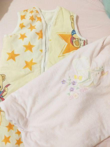 Розова бебешка пелена + спален чувал