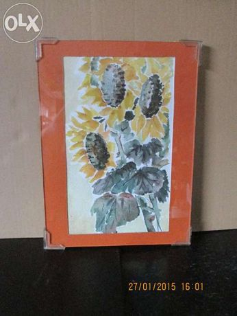 """Tablou """"FLORI"""" - pictura pe carton intre doua geamuri"""