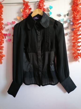 Vând cămașă de ocazie, transparenta cu inserții de satin