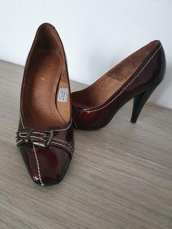 Pantofi piele, 35, culoare marsala