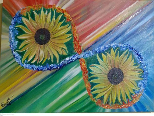 """pictura in ulei pe panza """"infinitul florii soarelui"""""""