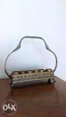 Suport argintat Art Nouveau de pahare pentru tarie.