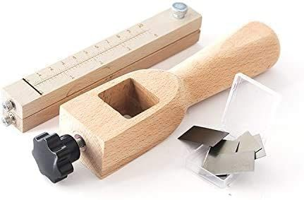 дървен инструмент за рязане на кожени ленти, кожарски, сарашки, 5 ножа