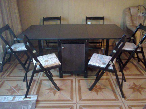 Set masa plianta si 6 scaune pliante lemn